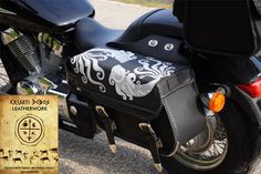 Hand stitched, custom saddle bags, motorcycle leather bags, handmade leather art by Kriszti Dobos, Hungary.