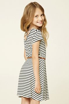 Forever 21 Girls - A ribbed knit dress featuring an allover striped print, round neckline, short sleeves, removable faux leather belt, flared silhouette, and crisscross back.