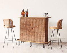 mid-century rattan bar