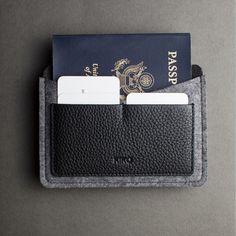 Portepasseport Feutre De Laine Et Cuir Noir Pinteres - Porte passeport cuir
