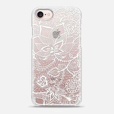 iPhone 7 Case Elegant white transparent hand drawn chic floral paisley lace pattern by Girly Trend