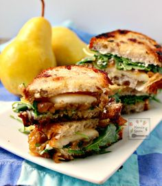 A burst of flavors - fruity sweet, cheesy, herby and buttery yum greet your taste buds with each bite of this delicious Fall sandwich - Pear, Honey, Cheese and Caramelized Onion Sandwiches! Light Sandwiches, Healthy Sandwiches, Sandwiches For Lunch, Delicious Sandwiches, Wrap Sandwiches, Gourmet Recipes, Vegetarian Recipes, Cooking Recipes, Healthy Recipes