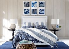 Extraordinary Ethan Allen Area Rugs Bedroom Contemporary with Striped Bedding Bedside Table Lamp Gray and White Woven Pouf Headboard Dark Blue Rug Leather Dark Blue Rug, Grey Table Lamps, Lamp Table, Striped Bedding, Coastal Bedrooms, Teen Girl Bedrooms, Ethan Allen, Contemporary Bedroom, Bedroom Decor