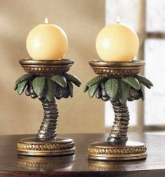 palm tree decor details about palm tree candleholders tropical decor set of 2 - Palm Tree Decor