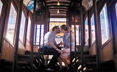 Sebastian and Mia ride the landmark Angels Flight in Los Angeles in La La Land. Image: Summit Entertainment.
