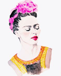 Frida Kahlo Print by Carly Martin Diego Rivera, Car Wall Art, Framed Wall Art, Watercolor And Ink, Watercolor Paintings, Kahlo Paintings, Illustrations, Illustration Art, Frida And Diego