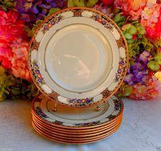 8 Beautiful Vintage Lenox Porcelain Dinner Plates Tuscan Orchard Scrolls Gold #Lenox