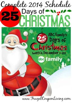 2014 25 Days of Christmas ABC Family Schedule - ABC Family, Hoilday Movies, FREE TV. Movies include The Little Mermaid, Toy Story, Rudolph, Frosty and More!
