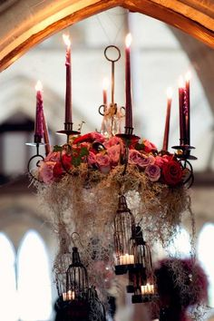Gorgeous, dark, romantic wedding ceremony and reception. Caged roses? Ahh..  Gothic wedding. Chandeliers. Photography.
