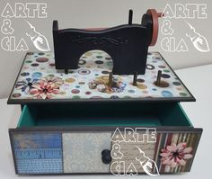 Caixa de Costura em MDF com Maquininha: Scrapbook, Decoupage e Pintura - Arte & Cia Santa Inês 3