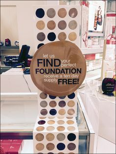 This offering of Foundation choices is extended by a table-top fold-out that extends halfway to the floor. It seemed there was some repetition to the sample offerings, but too late, by the time you. Perfect Foundation, A Table, Choices, Finding Yourself, Retail, Flooring, Brown, Top, Color