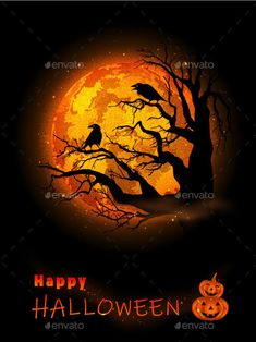 Halloween Celebration Background by meikis | GraphicRiver Halloween Flyer, Happy Halloween, Creepy, Scary, Celebration Background, Halloween Illustration, Halloween Celebration, Full Moon, Celebrities