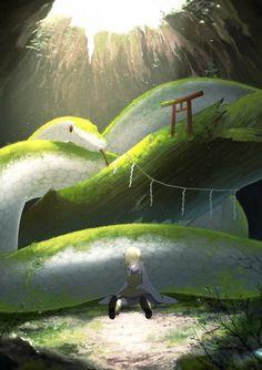 Mishaguji and Moriya Suwako~Touhou by Dark Fantasy Art, Fantasy Artwork, Fantasy World, Mythical Creatures Art, Magical Creatures, Giant Animals, Snake Art, Creature Drawings, Creature Concept Art