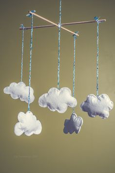 Handsewn Felt Cloud Baby Mobile by TiffandKate on Etsy, $20.00