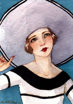 """ACEO Portrait Girl Flapper Hat Stripes Print """"In Monaco"""" by Amy Abshier Reyes 4/50"""