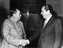 Richard Nixon - President Nixon greets Chinese Communist Party Chairman Mao Zedong (left) in a historic visit to the People's Republic of China, 1972.Wikipedia, the free encyclopedia