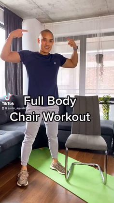 Easy Workouts For Beginners, Fun Workouts, At Home Workouts, Chair Exercises, Stretches, Strength Training Women, Chair Workout, Group Fitness Classes, Low Impact Workout