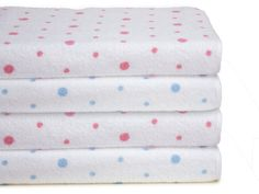 Petit Pois Bath Collection. The incomparable luxury of authentic 100% Turkish cotton terry is adorned with with a wealth of coin dots in Pink or Blue. Made in Turkey, woven with deep, plush, super absorbent pile, 600 grams per square meter, these finely tailored towels and matching robes are finished with neatly taped edges.  #BathLinen #Towels #schweitzerlinen