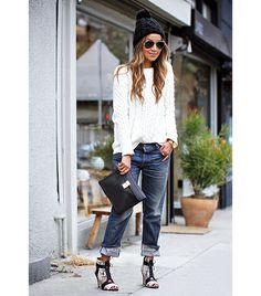 Boyfriend jeans and stilettos - great combo of sass and casual Mode Outfits, Chic Outfits, Fall Outfits, Boyfriend Jeans Kombinieren, Mode Style, Style Me, Look Fashion, Winter Fashion, Jeans Fashion