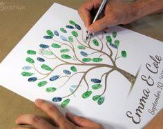 Wedding Tree Guest Book Wall Art Thumbprint от WillowTreeArtworks