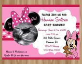 Minnie Mouse Baby Shower Invitation, Minnie Mouse Baby Shower, Minnie Baby Shower Invitation, Minnie Ultrasound, Minnie Shower Thank You - #invitation #minnie #mouse #shower - #new