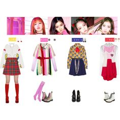 BLACKPINK - AS IF IT'S YOUR LAST❤️ by vvvan99 on Polyvore featuring mode, Natasha Zinko, Facetasm, Gucci, Monique Lhuillier, Christopher Kane, Sandro, Au Jour Le Jour, Dr. Martens and Jeffrey Campbell Stage Outfits, Kpop Outfits, Pink Outfits, Blackpink Fashion, Womens Fashion, Kpop Girl Bands, Gucci Shirts, Striped Dress, Christopher Kane