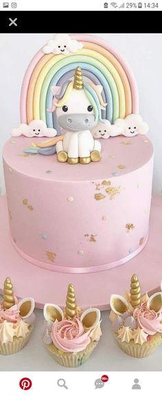 Pastel Rainbows, Clouds and Unicorns Cake