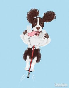 """""""Springer Spaniel"""" artwork - Buddy believes in the principle of """"work smarter, not harder."""" When it is time to flush birds, he can spring higher than the rest!"""