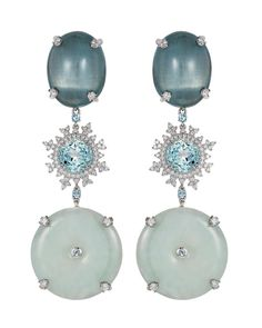 Shop for Nadine Aysoy Tsarina Ice Flake and Jade Earrings on Pietra. Jade Earrings, Diamond Earrings, Stud Earrings, Jewellery Earrings, White Jade, White Gold, Rhapsody In Blue, High Jewelry, Ear Piercings