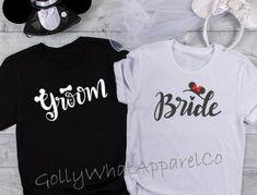 Disney Couple Shirts, Disney Couples, Walt Disney, Disney World Honeymoon, Groom Shirts, Bride Tshirts, Disney Inspired Wedding, Wedding Disney, Honeymoon Outfits