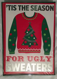 Ugly Sweater Christmas Cards Holiday Boxed Set 18 Cards & Envelopes Funny Season