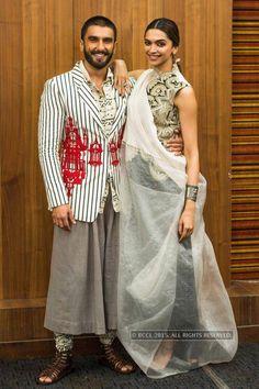 Ranveer Singh and Deepika Padukone look cute together during the promotion of Bollywood film Bajirao Mastani in Ahmedabad. Bajirao Mastani: Promotions Photogallery at Times of India #Deepika #Stylish #lehenga