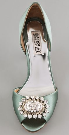 Badgley Mischka  Lacie Open Toe Pumps...absolutely gorgeous color and buckle! <3