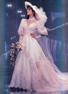 1980s Wedding Dress, Gorgeous Wedding Dress, Dream Wedding Dresses, Bridal Dresses, Wedding Gowns, Prom Gowns, Boho Wedding, Wedding Ceremony, Vintage Wedding Photos