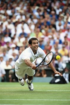 "Pete Sampras (1971) retired American tennis player & former World No. 1. During his 14-year tour career, he won 14 Grand Slam singles titles & became recognized as one of the greatest tennis players of all time. Especially known for having the best ""running forehand"" of all time. He was able to catch attacks wide to his forehand using his speed & hitting a forehand shot on the run.~ My favorite mens tennis player; loved his great game, gentlemanly style and his appropriate tennis whites."