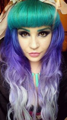 Green purple ombre dyed hair