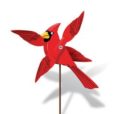 """Cardinal Whirligig Pattern.  A winner at craft shows everywhere! Everybody's favorite bird spins his wings in a blaze of color and motion in every yard. Our full-size pattern and simple painting guide ensure your success. 13""""H x 12""""W x 8""""D. Parts Req'd: Eyes (2) E-409; Kit (1) H-660.  Pattern #1948  $6.95  ( crafting, crafts, woodcraft, pattern, woodworking, yard art ) Pattern by Sherwood Creations"""