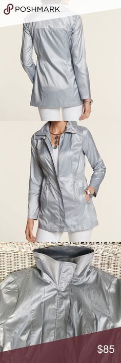"""NWT {CHICO'S COLL.} Silver Anorak Jacket 🌟BRAND NEW WITH TAGS!🌟 Super cute & versatile jacket — a must-have for any wardrobe!  Sold out online!  🔹Approx. 32"""" Length 🔹 See last two slides ☝️ for Chico's sizing chart & product description from brand website Jackets & Coats"""