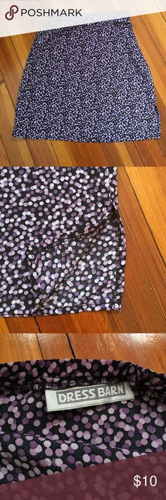 """Purple Dotted Skirt Black background with shades of purple dots. Light and airy. Has a 5"""" slit on one side. Hidden side zipper with button. No lining. Back of waist has elastic to make it a comfortable fit but that's the only place with any stretch.  13"""" across waist (stretches 15-16"""").  20"""" long. Dress Barn Skirts"""