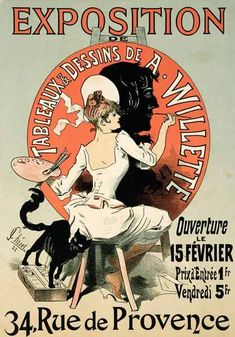 Jules Chéret - Reproduction of a poster advertising an 'Exhibition of the Paintings and Drawings of A. Willette (18
