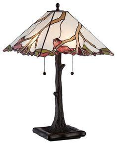Asian Robert Louis Tiffany Cherry Blossom Art Glass Table Lamp modern-table-lamps