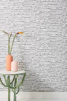 Runes Wallpaper by Anthropologie in Black, Wall Decor Office Wallpaper, Unique Wallpaper, Bathroom Wallpaper, Wall Wallpaper, Wallpaper Ideas, Bedroom With Wallpaper Accent Wall, Chevron Wallpaper, Painted Wallpaper, Beach House Bathroom