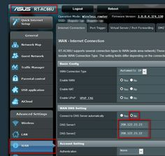 Photo of DNS Settings on ASUS RT-AC66U Router