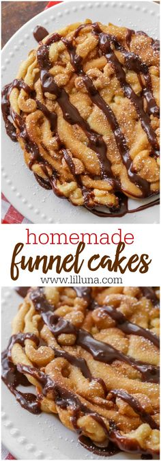 Bring the state fair home with this Homemade Funnel Cakes recipe! Easy and delicious recipe on { lilluna.com } A yummy batter that can be topped with hot fudge sauce, caramel, powdered sugar, whatever you like!