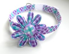Dog Collar Flower Set: Purple, Turquoise, and White Plaid Dog Collar with Flower