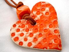 Orange ceramic heart pendant