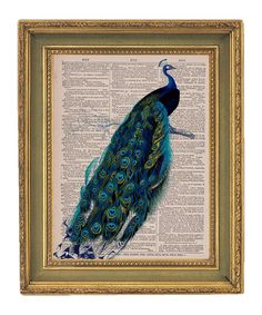 """$15.00 - Peacock print from """"papergangsterprints"""" on Etsy. For the bedroom or living room."""