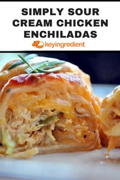 Simple sour cream chicken enchiladas to assemble, deliciously creamy and a great choice for once-a-month cooking. And there is NO canned cream soup in my enchiladas -- Hope you give them a try! Sugar Free Low Carb Recipe, Cooking Recipes, Healthy Recipes, Yummy Recipes, Healthy Food, Recipies, Sour Cream Chicken, Mexican Food Recipes, Ethnic Recipes