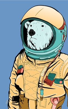 Ponilla : in space suit by SPNG Inoue, via Behance Drawings Pinterest, Space Projects, Animal Paintings, Astronaut, Aliens, Drawing Ideas, Sci Fi, Behance, Illustrations