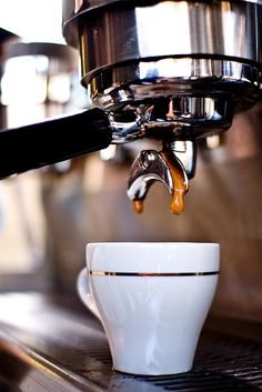Many Italians call espresso a romantic kind of coffee and it's easy to see why. The nature of espresso is such that it doesn't take a whole lot to fill you up. I Love Coffee, Coffee Break, My Coffee, Morning Coffee, Happy Coffee, Drip Coffee, Coffee Cafe, Coffee Drinks, Coffee Shop